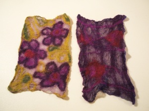 Two samples of Nunofelt on silk in purples